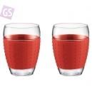 PAVINA Pohár s červeným silikonovým krúžkom 11166-294
