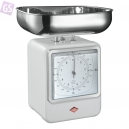 WESCO Retro kuchynská váha s hodinami biela 322204-01